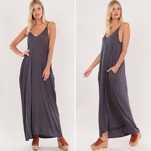TERRI Harem Dress W/ pockets - CHARCOAL